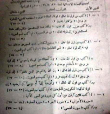امتحانات قران كريم وتربية دينية اسلامية للشهاده الابتدائيه الازهريه موقع الدكتور محمد رزق 13304511743
