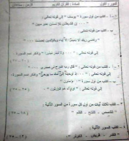 امتحانات قران كريم وتربية دينية اسلامية للشهاده الابتدائيه الازهريه موقع الدكتور محمد رزق 13304511755