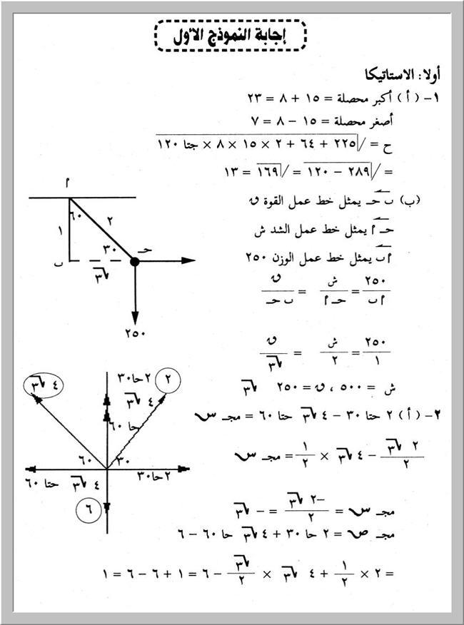 نماذج إمتحانات ميكانيكا (محلولة ) لثالثة ثانوى