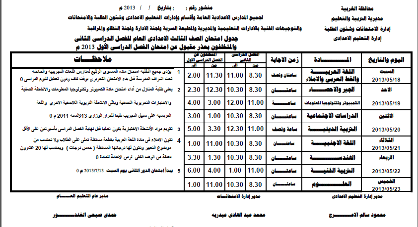جدول امتحانات الشهادة الاعدادية الترم الثانى 2013 محافظة الغربية exam-eg.com_13658927