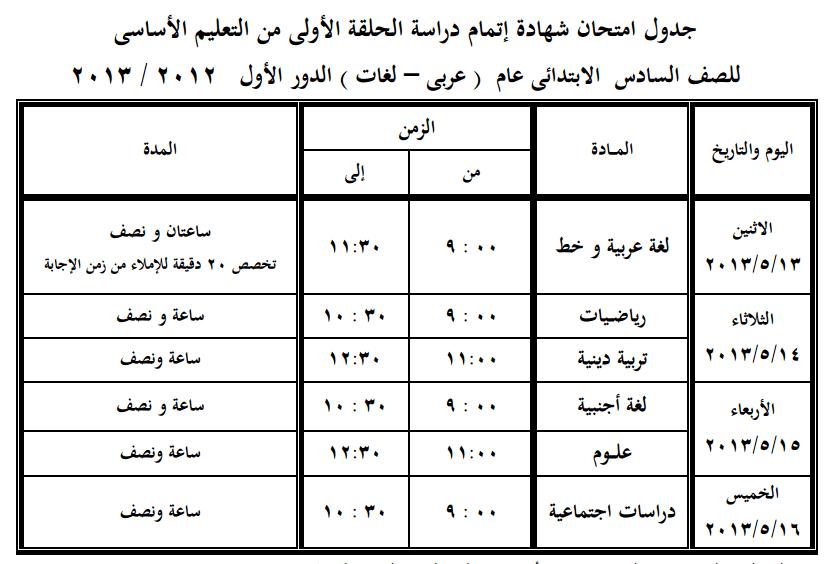 جدول امتحانات الشهادة الابتدائية 2013 محافظة الجيزة الترم الثانى exam-eg.com_13658936