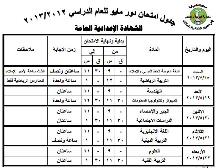 جدول امتحانات الشهادة الاعدادية 2013 اخر العام محافظة المنوفية exam-eg.com_13658940