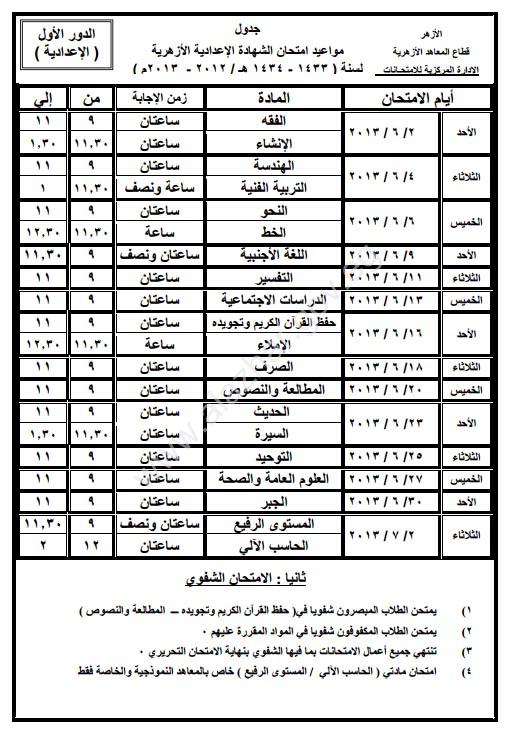 جدول امتحانات الصف الثالث الاعدادى الازهرى 2013