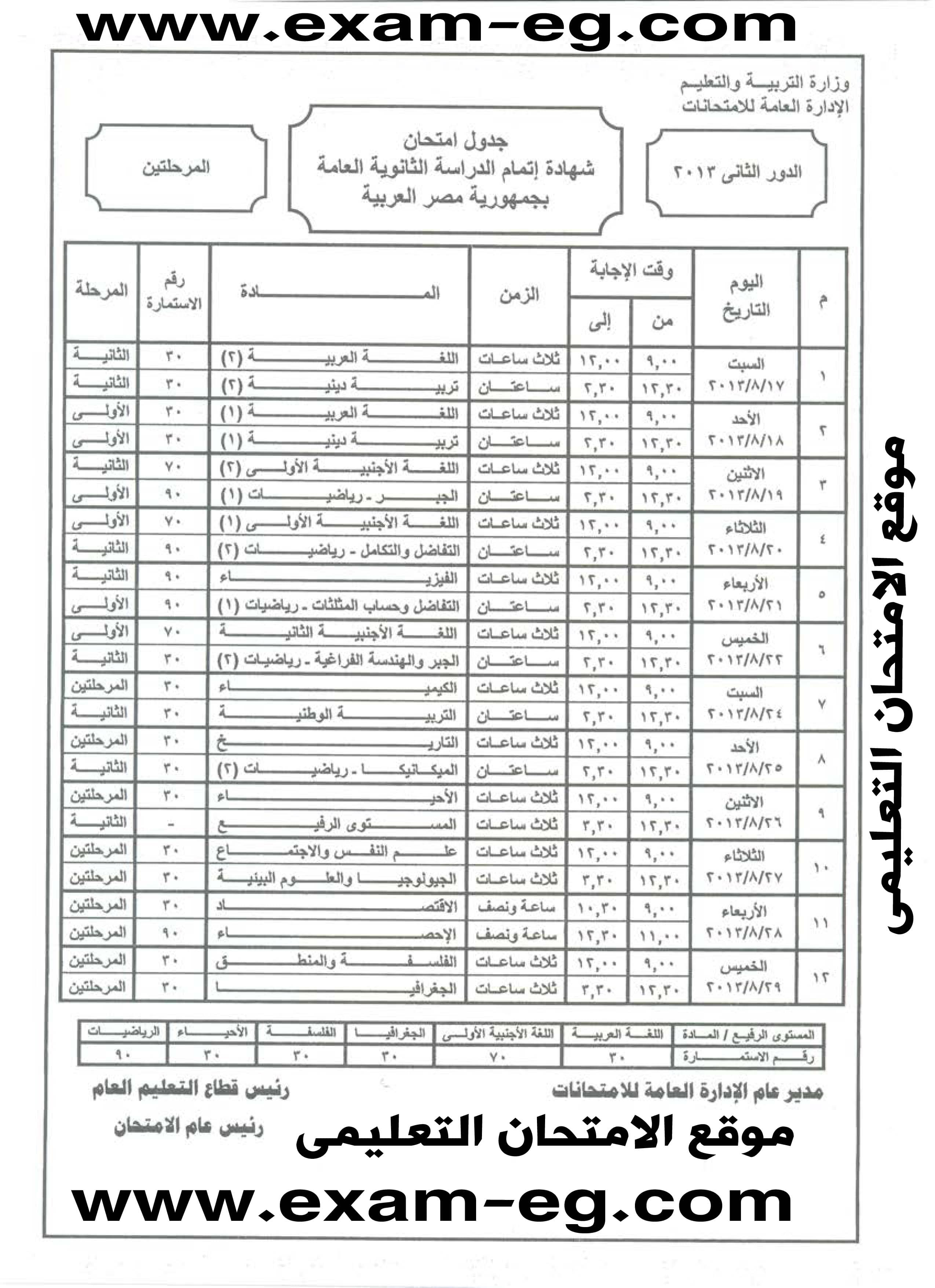 جدول امتحانات الثانوية العامة 2013 الدور الثانى exam-eg.com_13753175