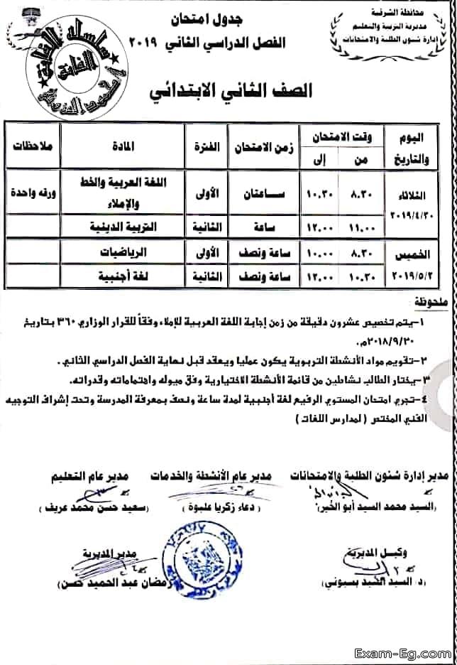 جدول الصف الثانى الابتدائى الترم الثانى 2019 محافظة الشرقية