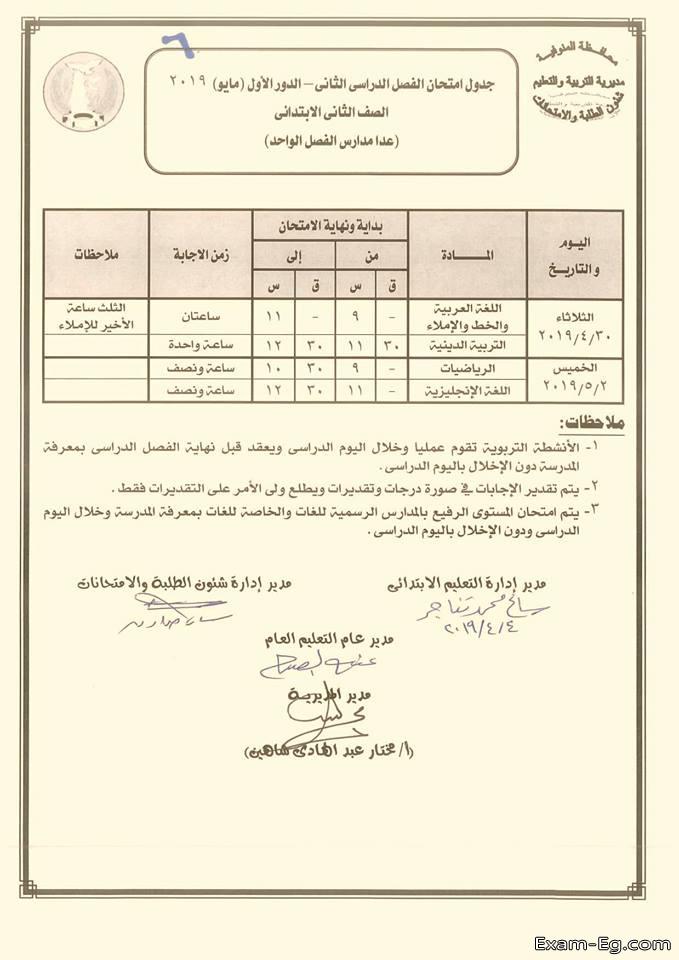 جدول الصف الثانى الابتدائى الترم الثانى 2019 محافظة المنوفية