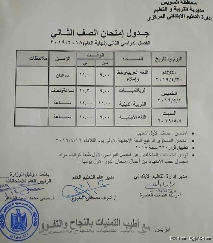 جدول الصف الثانى الابتدائى الترم الثانى 2019 محافظة السويس