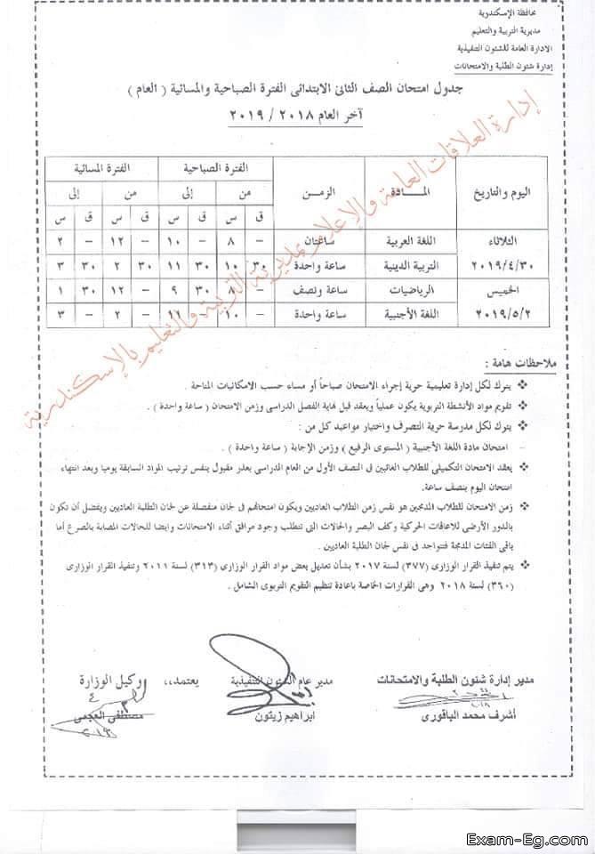 جدول الصف الثانى الابتدائى الترم الثانى 2019 محافظة الاسكندرية