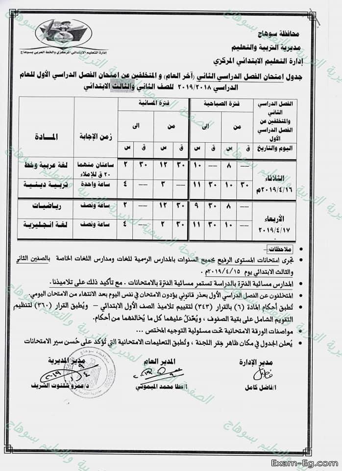 جدول الصف الثانى الابتدائى الترم الثانى 2019 محافظة سوهاج