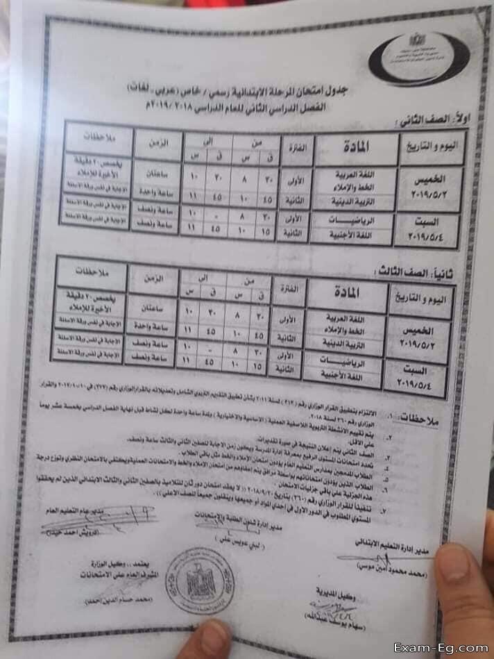 جدول الصف الثانى الابتدائى الترم الثانى 2019 محافظة بنى سويف