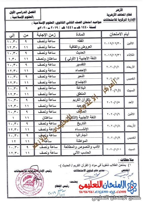 جدول تانية ثانوى علوم اسلامية ازهر ترم اول 2020