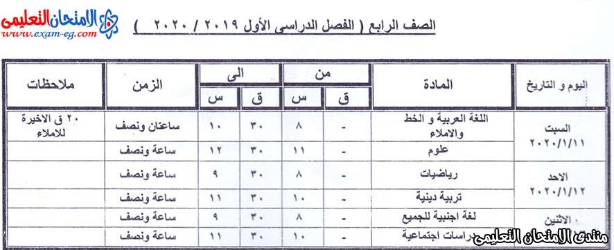 جدول الصف الرابع الابتدائى بكفر الشيخ