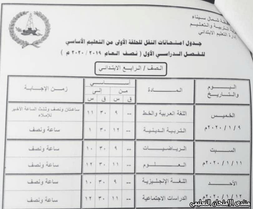 جدول رابعة ابتدائى بشمال سيناء 2020
