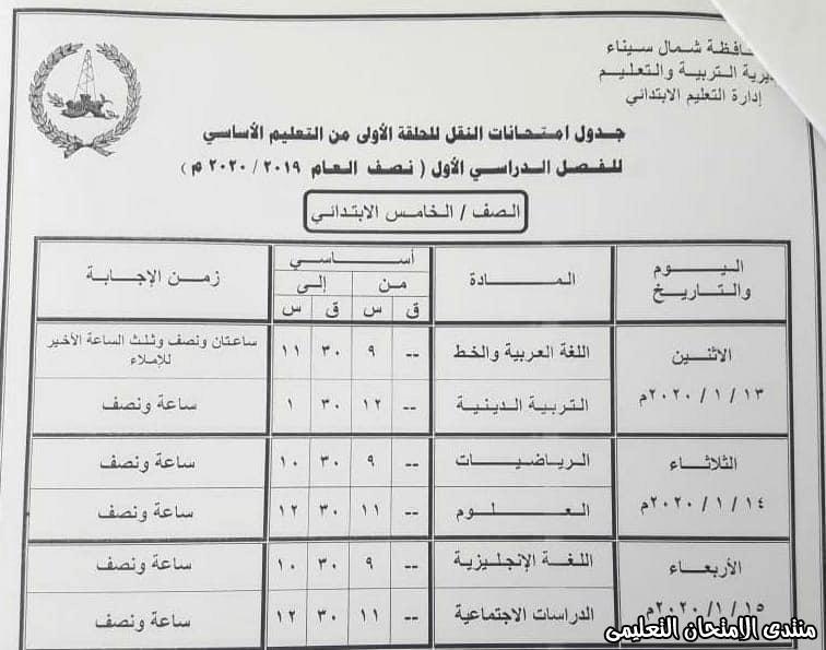 جدول خامسة ابتدائى بشمال سيناء 2020