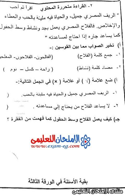 امتحان عربى 4 ابتدائى 2020 بنى سويف 2