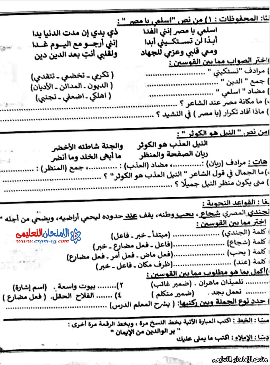 امتحان عربى الرابع الابتدائى شرق مدينة نصر 2