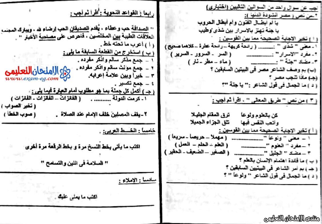 امتحان لغة عربية 5 ابتدائى نصف العام  عين شمس 2